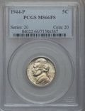 Jefferson Nickels: , 1944-P 5C MS66 Full Steps PCGS. PCGS Population (165/9). NGCCensus: (54/10). Numismedia Wsl. Price for problem free NGC/P...