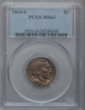Buffalo Nickels: , 1914-S 5C MS63 PCGS. PCGS Population (408/551). NGC Census:(264/473). Mintage: 3,470,000. Numismedia Wsl. Price for proble...