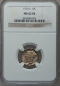Mercury Dimes: , 1924-S 10C MS63 Full Bands NGC. NGC Census: (22/45). PCGSPopulation (50/113). Mintage: 7,120,000. Numismedia Wsl. Pricefo...