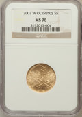 Modern Issues: , 2002-W $5 Olympics Half Eagle MS70 NGC. NGC Census: (627). PCGSPopulation (220). Numismedia Wsl. Price for problem free N...