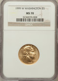 Modern Issues: , 1999-W G$5 Washington Gold Five Dollar MS70 NGC. NGC Census: (748).PCGS Population (142). Numismedia Wsl. Price for probl...