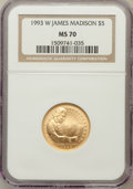 Modern Issues: , 1993-W G$5 Bill of Rights Gold Five Dollar MS70 NGC. NGC Census:(826). PCGS Population (264). Mintage: 23,266. Numismedia ...