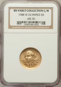 Modern Issues: , 1988-W G$5 Olympic Gold Five Dollar MS70 NGC. Ex: US VaultCollection L/M. NGC Census: (1184). PCGS Population (239). Minta...