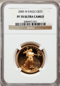 Modern Bullion Coins, 2005-W G$25 Half-Ounce Gold Eagle PR70 Ultra Cameo NGC. NGC Census:(1095). PCGS Population (215). Numismedia Wsl. Price f...