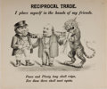 "Books:Prints & Leaves, [Broadside]. Etched Political Cartoon Entitled ""Reciprocal Trade"".[N.p., n.d., ca. 1850's]. Approximately 8 x 10 inches. To..."