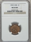 Lincoln Cents, 1909-S VDB 1C MS64 Brown NGC....