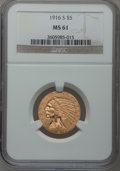 Indian Half Eagles, 1916-S $5 MS61 NGC....