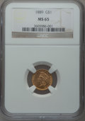 Gold Dollars, 1889 G$1 MS65 NGC....