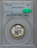 Washington Quarters, 1951-D 25C MS67 PCGS. CAC....