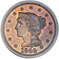 Proof Large Cents, 1844 1C PR64 Brown PCGS. N-8, High R.6....