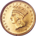 Proof Gold Dollars, 1869 G$1 PR64 Cameo PCGS. CAC....