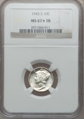 Mercury Dimes: , 1943-S 10C MS67 ★ Full Bands NGC. NGC Census: (174/7). PCGSPopulation (180/15). Mintage: 60,...