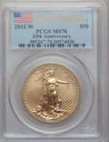 Modern Bullion Coins, 2011-W $50 One-Ounce Gold Eagle, 25th Anniversary, First StrikeMS70 PCGS. PCGS Population (86). NGC Census: (0). Numismed...