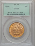 Liberty Eagles: , 1894 $10 MS61 PCGS. PCGS Population (5858/8676). NGC Census:(11694/19564). Mintage: 2,470,778. Numismedia Wsl. Price for p...