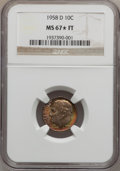 Roosevelt Dimes: , 1958-D 10C MS67 ★ Full Bands NGC. NGC Census: (152/4). PCGSPopulation (82/2). Mintage: 136,5...
