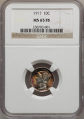 Mercury Dimes: , 1917 10C MS65 Full Bands NGC. NGC Census: (97/47). PCGS Population(197/91). Mintage: 55,230,000. Numismedia Wsl. Price for...