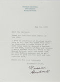 Books:Art & Architecture, Norman Rockwell (1894-1978, American Artist and Illustrator). Typed Letter Signed. Stockbridge, May 19, 1970. Approximately ...