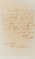 "Books:Americana & American History, William Cabell Rives. (1793-1868, American Politician andDiplomat). Autograph Letter Signed (as ""W. C. Rives"").Philadelphi..."