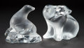 Art Glass:Lalique, TWO LALIQUE GLASS FIGURES: SEAL AND POLAR BEAR . Late20th century. Marks: Lalique ® France. 5-1/2 i... (Total: 2Items)