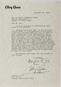 Books:Mystery & Detective Fiction, Ellery Queen [Manfred B. Lee]. Typed Letter Signed by Lee as Lee and Ellery Queen. Roxbury, November 29, 1968. On Ellery Que...