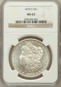 Morgan Dollars: , 1878-S $1 MS63 NGC. NGC Census: (11428/18318). PCGS Population(12481/16847). Mintage: 9,774,000. Numismedia Wsl. Price for...