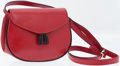 Luxury Accessories:Bags, Ferragamo Red Leather Shoulder Bag with Patent Leather Tassels. ...