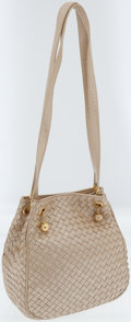 Luxury Accessories:Bags, Bottega Veneta Metallic Cream Intrecciato Leather Bucket ShoulderBag. ...