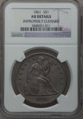Seated Dollars, 1861 $1 -- Improperly Cleaned -- NGC Details. AU....