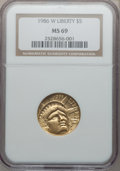 Modern Issues: , 1986-W G$5 Statue of Liberty Gold Five Dollar MS69 NGC. NGC Census:(1648/2007). PCGS Population (3837/306). Mintage: 95,24...