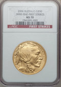 Modern Bullion Coins, 2006 $50 One-Ounce Gold Buffalo, First Strikes MS70 NGC. NGCCensus: (43511). PCGS Population (3304)....