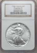 Modern Bullion Coins: , 1990 $1 Silver Eagle MS70 NGC. NGC Census: (155). PCGS Population(0). Mintage: 5,840,210. Numismedia Wsl. Price for proble...