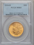 Indian Eagles: , 1910-D $10 MS61 PCGS. PCGS Population (868/6318). NGC Census:(2577/7222). Mintage: 2,356,640. Numismedia Wsl. Price for pr...