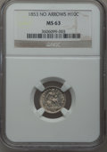 Seated Half Dimes: , 1853 H10C No Arrows MS63 NGC. NGC Census: (22/63). PCGS Population(21/33). Mintage: 135,000. Numismedia Wsl. Price for pro...