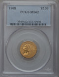Indian Quarter Eagles: , 1908 $2 1/2 MS62 PCGS. PCGS Population (1238/3270). NGC Census:(2579/3384). Mintage: 564,800. Numismedia Wsl. Price for pr...