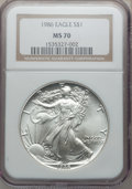 Modern Bullion Coins: , 1986 $1 Silver Eagle MS70 NGC. NGC Census: (1143). PCGS Population(3). Mintage: 5,393,005. Numismedia Wsl. Price for probl...