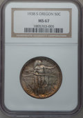 Commemorative Silver: , 1938-S 50C Oregon MS67 NGC. NGC Census: (141/15). PCGS Population(122/9). Mintage: 6,006. Numismedia Wsl. Price for proble...