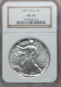 Modern Bullion Coins, 1989 $1 Silver Eagle MS70 NGC. NGC Census: (779). PCGS Population: (60). Mintage 5,203,327. ...