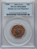 Errors, 1960 25C Washington Quarter -- Struck on a Cent Planchet -- MS64 Red and Brown PCGS....
