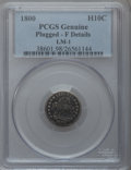 Early Half Dimes, 1800 H10C -- Plugged -- PCGS Genuine. Fine Details. LM-1. NGCCensus: (4/143). PCGS Population (12/237). Mintage: 40,000. N...