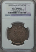 Bust Half Dollars, 1829 50C Small Letters -- Artificial Toning -- NGC Details. Unc.O-114. NGC Census: (2/270). PCGS Population (12/220). Mint...