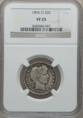 Barber Quarters: , 1896-O 25C VF25 NGC. NGC Census: (3/88). PCGS Population (3/109).Mintage: 1,484,000. Numismedia Wsl. Price for problem fre...