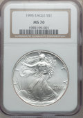 Modern Bullion Coins: , 1995 $1 Silver Eagle MS70 NGC. NGC Census: (459). PCGS Population(1). Mintage: 4,672,051. Numismedia Wsl. Price for proble...