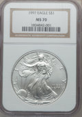 Modern Bullion Coins: , 1997 $1 Silver Eagle MS70 NGC. NGC Census: (483). PCGS Population(3). Mintage: 4,295,004. Numismedia Wsl. Price for proble...