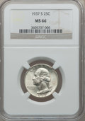 Washington Quarters: , 1937-S 25C MS66 NGC. NGC Census: (140/26). PCGS Population(163/20). Mintage: 1,652,000. Numismedia Wsl. Price for problem ...