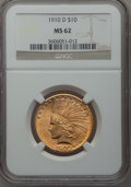 Indian Eagles: , 1910-D $10 MS62 NGC. NGC Census: (4258/2964). PCGS Population(3470/2848). Mintage: 2,356,640. Numismedia Wsl. Price for pr...