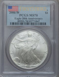 Modern Bullion Coins, 2006-W $1 20th Anniversary Silver Eagle, First Strike MS70 PCGS.PCGS Population (251). NGC Census: (0). ...