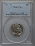 Buffalo Nickels: , 1914-S 5C MS63 PCGS. PCGS Population (410/546). NGC Census:(264/473). Mintage: 3,470,000. Numismedia Wsl. Price for proble...