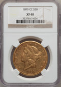 Liberty Double Eagles, 1890-CC $20 XF40 NGC. Variety 2-B....