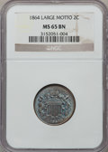 Two Cent Pieces: , 1864 2C Large Motto MS65 Brown NGC. NGC Census: (238/32). PCGSPopulation (49/2). Mintage: 19,847,500. Numismedia Wsl. Pric...