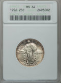 Standing Liberty Quarters: , 1926 25C MS64 ANACS. NGC Census: (242/135). PCGS Population(315/185). Mintage: 11,316,000. Numismedia Wsl. Price for probl...